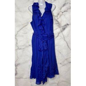 SILK LAUREN RALPH LAUREN BLUE WRAP DRESS PRELOVED